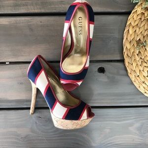 Guess red white & blue heels
